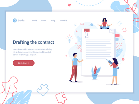 Drafting the contract. People draw up a document. Web page design template. Flat vector illustration. Illustration