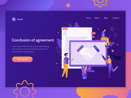Conclusion of agreement. Landing page template. Business concept. Flat vector illustration.  イラスト・ベクター素材