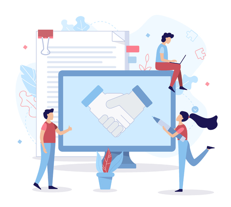 The successful conclusion of the transaction. Handshake partners. Business concept. Flat vector illustration.
