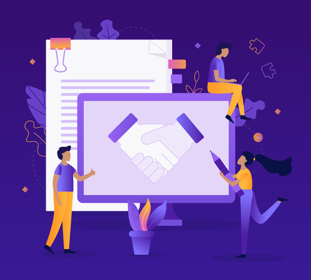 The conclusion of the transaction for the development of the web site. Handshake partners. Business concept. Flat vector illustration.