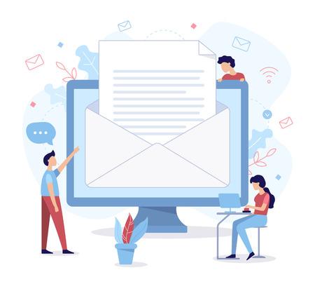 Envoi de documents commerciaux par courrier. Concept d'entreprise. Illustration vectorielle plane. Vecteurs