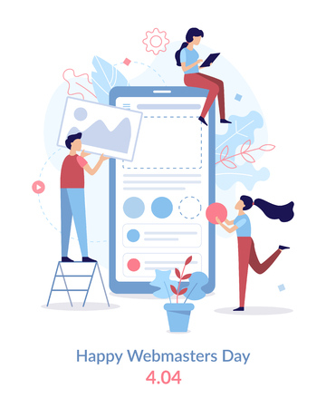 Happy Webmasters Day. 404. Mobile application development team. Flat vector illustration. Illustration