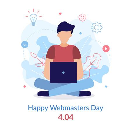 Happy Webmaster Day. 404. Programmer at work.