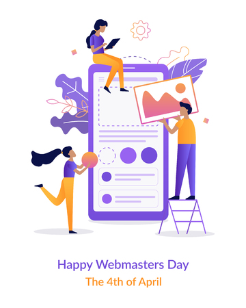 Happy Webmasters Day. Team of developers construct mobile app. Flat vector illustration.