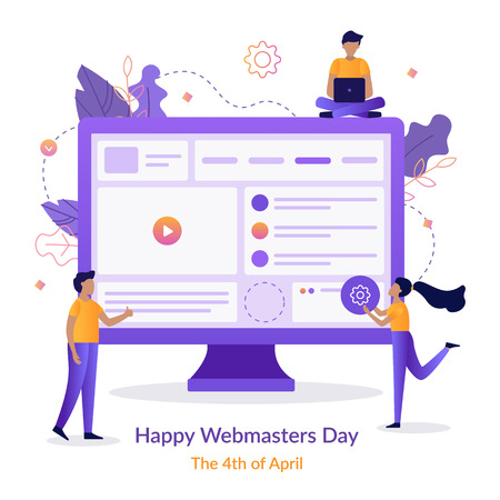 Happy Webmasters Day. A team of web developers build a website. Holiday card. Flat vector illustration.
