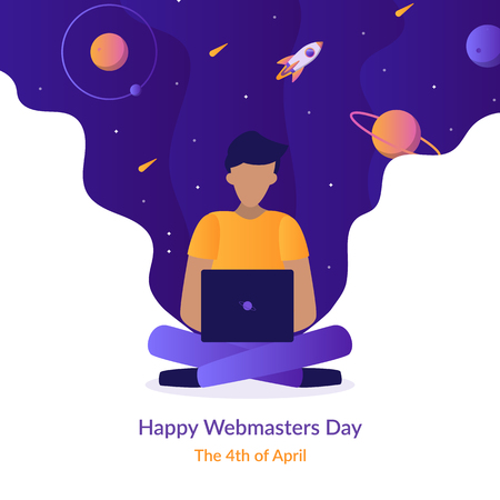 Happy Webmasters Day. The 4th of April. Holiday card. Flat vector illustration.