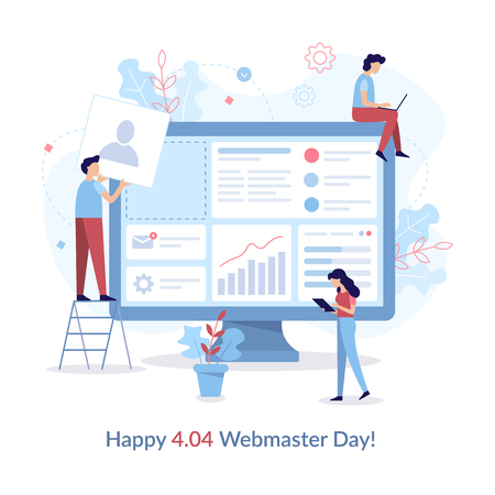 Happy 404 Webmasters Day. Teamwork project. Event card. Flat vector illustration.