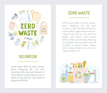 Set flyers for zero waste. Promotional products. Flat design. Vector illustration. Ilustrace