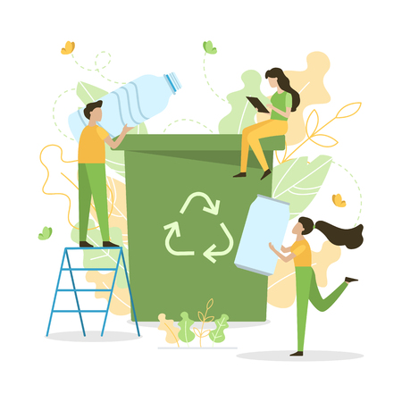 People sort waste for recycling. Put a plastic bottle and a can in the container. Ecology concept. Flat vector illustration. Ilustrace