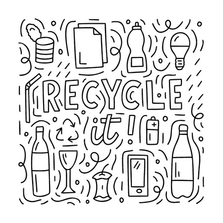 Lettering composition with different objects that can be recycled. Black and white doodle style illustration for postcards, prints or for coloring book. 写真素材 - 123853358