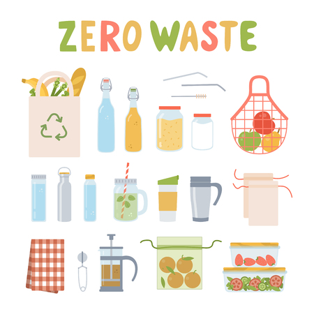 Conjunto de desperdicio cero. Utensilios de cocina y comida. Utensilios de vidrio, madera y metal. Bolsa y bolsitas de tela. Ilustración de vector plano.
