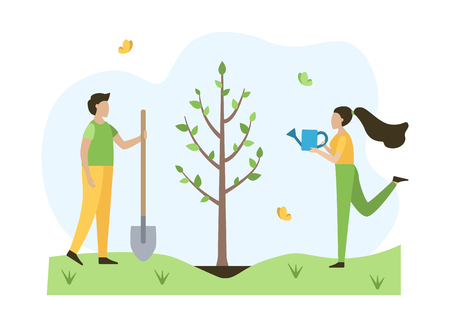 People plant tree in the spring. Ecology concept. Flat vector illustration. 向量圖像