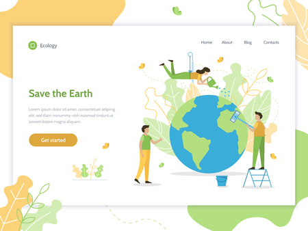Save the Earth. Web banner design template. Flat vector illustration.