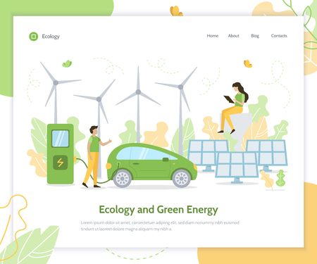 Ecology and green energy. Solar panels, wind turbines and electric car. Landing page design template. Flat vector illustration.