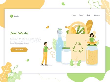 Zero waste. Ecology lifestyle. Web banner design template. Flat vector illustration. 向量圖像
