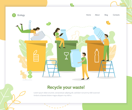 People sort garbage by type into containers for recycling. Web banner design template. Flat vector illustration. Banque d'images - 123261069