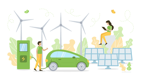 Man charging electric car at charging station. Solar panels and wind turbines on a background. Green energy concept. Flat vector illustration. 일러스트