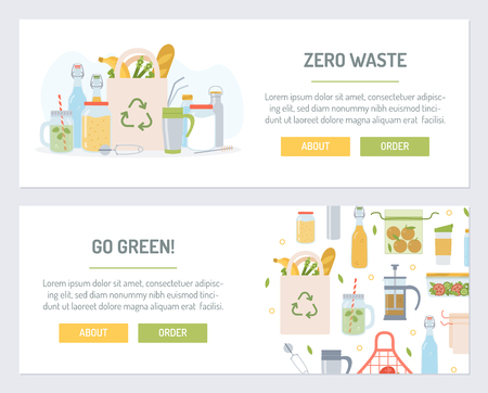 Set web banners for zero waste. Flat design. Vector illustration.