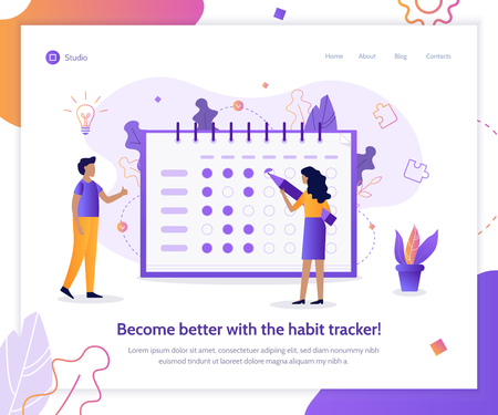 Become better with the habit tracker! Self-improvement concept. Flat vector illustration.