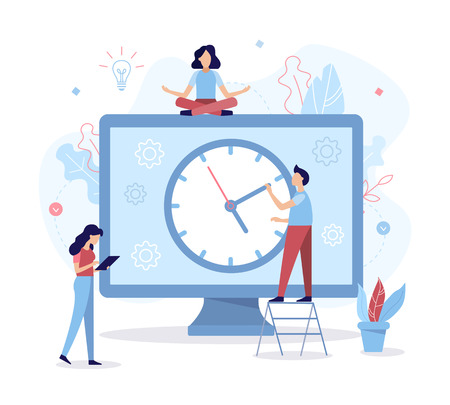 The development team allocates time for the project. Time management concept. Flat vector illustration. Stock Vector - 122899528