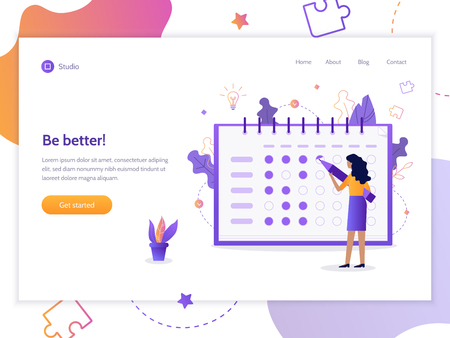 Be better! The girl notes the bullets in the tracker habits. Modern web banner. Flat vector illustration.