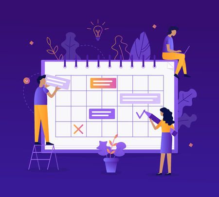 People fill out the schedule. Work planning, setting tasks. Time management concept. Flat vector illustration. Time management concept. Flat vector illustration. Ilustrace
