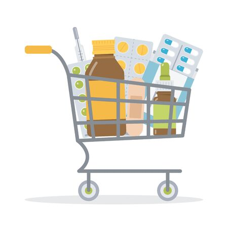 Shopping cart with medicaments. Medicine concept for drug store or online pharmacy. Flat vector illustration. Ilustrace