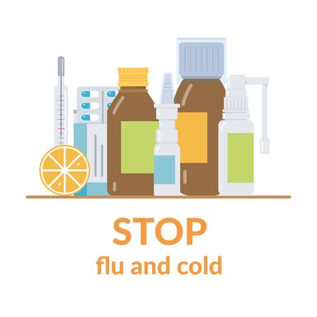Stop flu and cold. Different drugs on the table. Medical concept. Flat vector illustration.