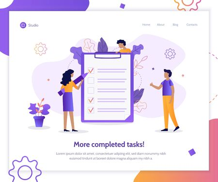 More completed tasks! Time management web banner. Checklist. Flat vector illustration.