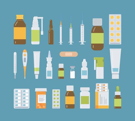 Collection of medicine bottles, sprays, tablets and capsules, drops and ointments. Medical elements for pharmacy or drug store. Flat vector illustration. Ilustrace
