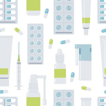 Medical seamless pattern with different pills and bottles. Blue and green colors. Isolated on the white background. Flat vector illustration.