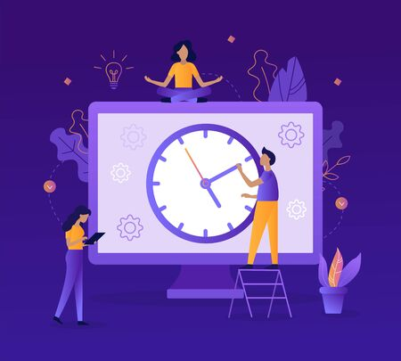 People are working on a schedule for the project. Big clock. Time management concept. Flat vector illustration. Ilustrace