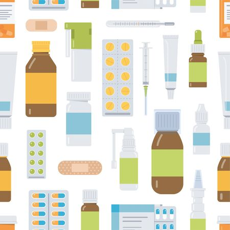 Medical seamless pattern with different pills and bottles. Isolated on the white background. Flat vector illustration.