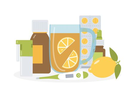 Cold and flu medicine. Concept for medical blogs, pharmacies and advertising. Drugs and tea with lemon. Flat vector illustration.