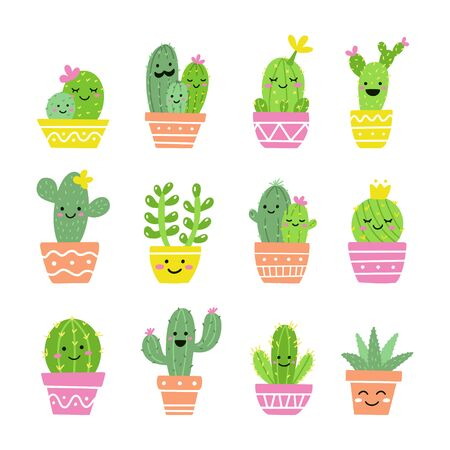 Cute cactus set. A collection of exotic potted plants with funny faces. Vector illustration.