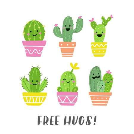 Free hugs! Funny cacti set with cute faces. Perfect for stickers, prints or cards. Vector illustration.