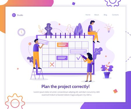 Plan the project correctly! Web banner design template. Flat vector illustration.