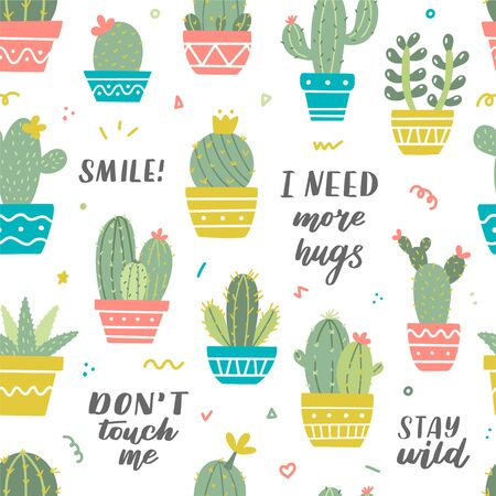 Vector cactus seamless pattern. Different potted cacti and hand lettering. Ideal for textile or wrapping paper.