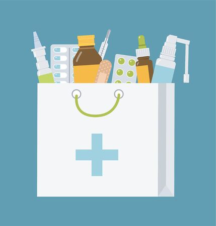 Pharmaceutical package with different drugs. Medical concept for online pharmacy. Flat vector illustration.
