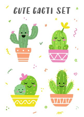 Cute cacti set. Potted cactuses with funny faces. Perfect for stickers, prints or cards. Vector illustration.