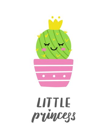 Little princess. Cute cactus in a pot with a crown. Perfect for greeting card or print on baby clothes. Vector illustration.
