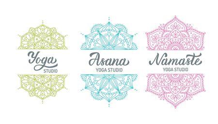 Yoga studio illustration set with mandalas isolated on white background. Hand lettering elements. Vector illustration. Stock Illustratie