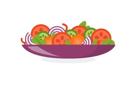 Plate with fresh vegetable salad, healthy food. Flat style. Vector illustration isolated on white background.