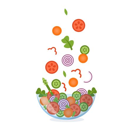 Vegetable salad in a glass bowl with ingredients flying in the air. Isolated on white background. Healthy eating concept. Vector illustration in flat design. Ilustrace