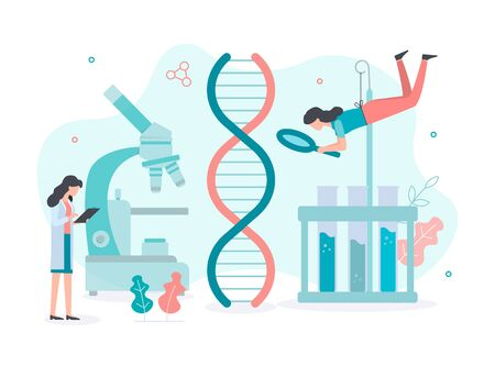 Scientists examine the genome in a research laboratory. DNA research concept. Flat vector illustration.  Ilustrace
