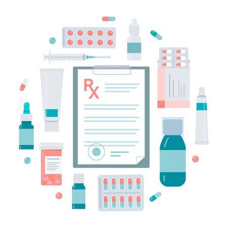 Medical prescription. Round concept for posters, flyers, banners. Flat vector illustration. Vektorové ilustrace
