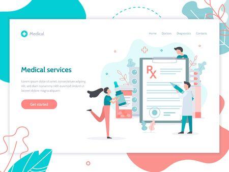 Medical service concept. Male doctor writes prescription. Web banner design template. Flat vector illustration. Vektorové ilustrace