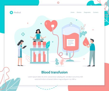 Blood transfusion concept. Landing design template for clinic or hospital. Flat vector illustration.