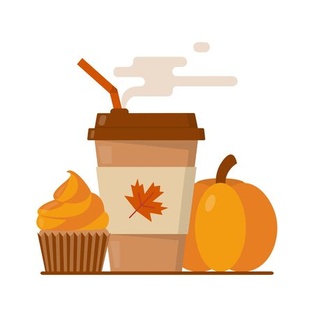 Pumpkin spice latte season. Coffee paper cup with steam and orange cupcake. Flat vector illustration. Ilustração