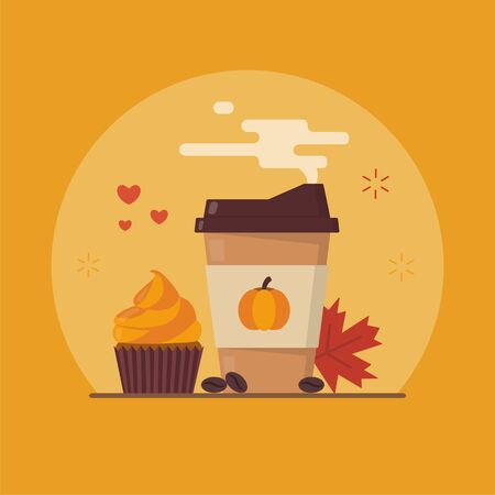 Pumpkin spice latte, cupcake and maple leaf. Flat vector illustration.